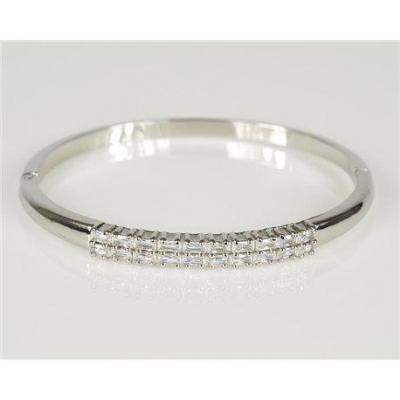 Bracelet jonc a clip metal couleur or blanc zircon coupe diamant d60mm collection chic 78440