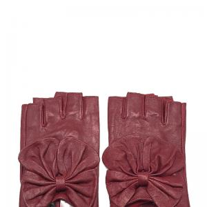 By oceane mitaine cuir avec noeud papillon burgundy 1