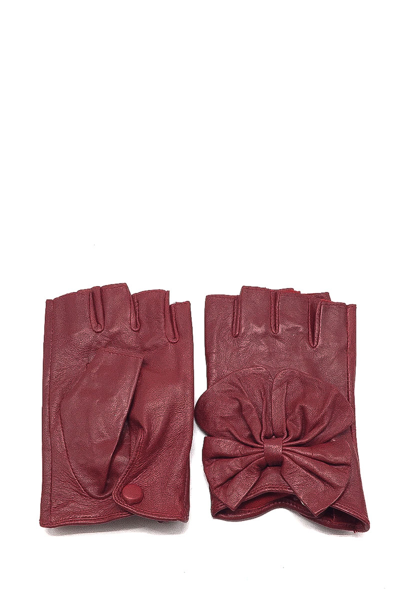 By oceane mitaine cuir avec noeud papillon burgundy 2
