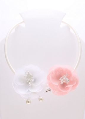 Collier blanc rose
