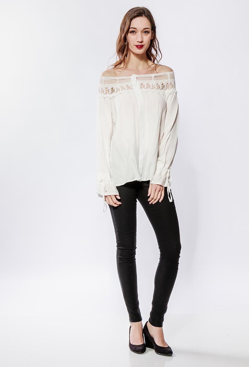 Lilie rose blouse a epaules denudees white 2