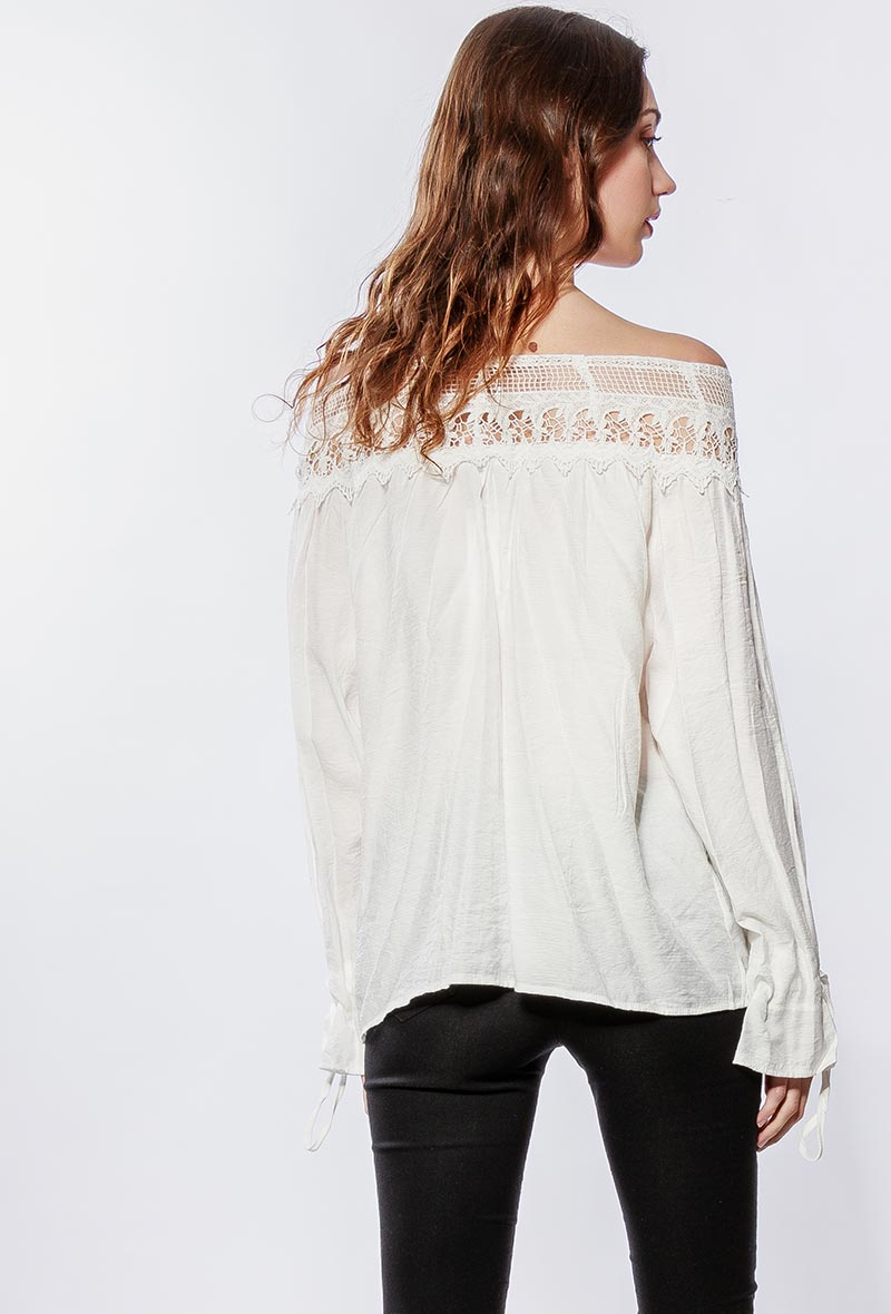 Lilie rose blouse a epaules denudees white 3