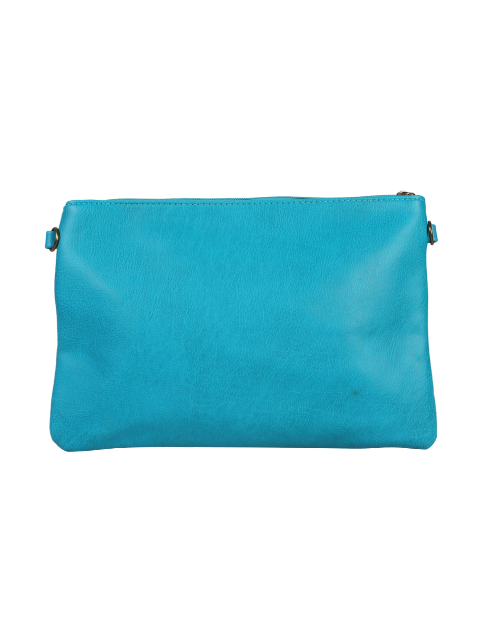 Pochette turquoise perforations