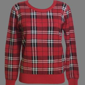 Pull carreaux rouge