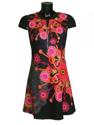 Robe explosion florale petites manches
