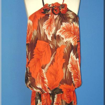 Robe voile plumes