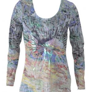 T shirt multicolore paillettes